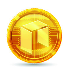 neo icon is a golden color crypto currency vector image