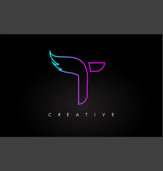 Neon t letter logo icon design with creative wing vector