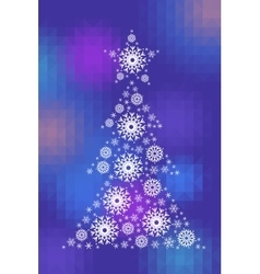 New Year Tree on faceted background vector image