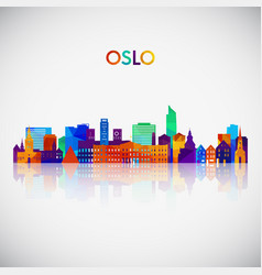 oslo skyline silhouette in colorful geometric vector image