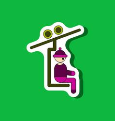 Paper sticker on stylish background man on ski vector