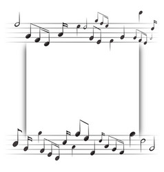 Paper template with music notes in background vector