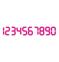 Pink 3d-like digital numbers seven-segment vector