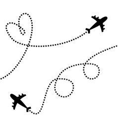 Plane icon set two airplane flying dash line vector