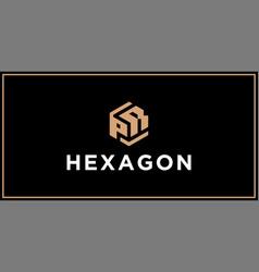Pr hexagon logo design inspiration vector