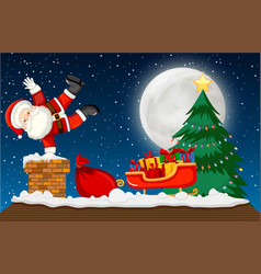 santa going down chimney scene vector image