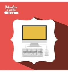School computer inside frame design vector