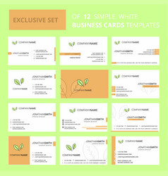 set of 12 leafs creative busienss card template vector image