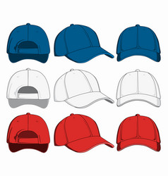 Set of baseball caps front back and side view vector