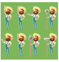 set of farmer icons4 vector image
