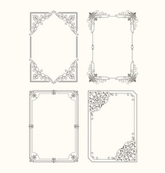 Set of vintage frames decorative border corners vector