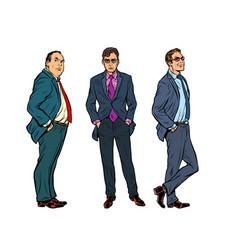 set three businessmen vector image