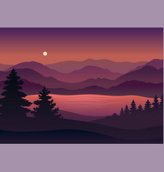 Silhouette coniferous forest on background vector