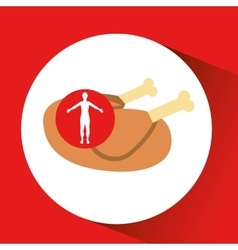 Silhouette man concept healthy chicken food icon vector