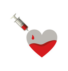 Silhouette needle syringe donate blood in heart vector