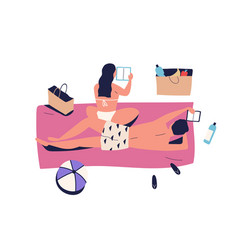 sunbathing couple woman and man on vacation vector image