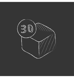 Three D box Drawn in chalk icon vector