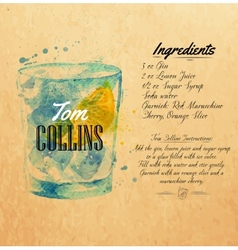 Tom Collins cocktails watercolor kraft vector