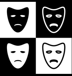 tragedy theatrical masks black and white vector image