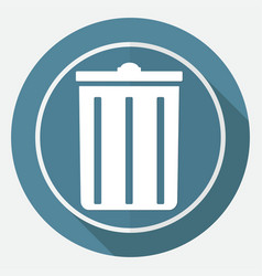trash can icon on white circle with a long shadow vector image