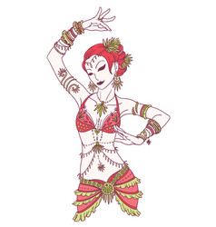 tribal dancer or belly dancer girl vector image