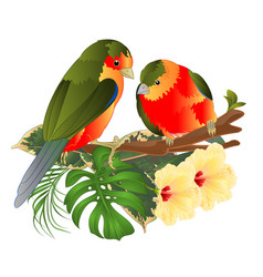 Tropical birds bouquet with flowers vector