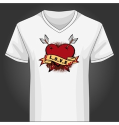 V neck shirt template with heart piersed arrows vector