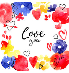 valentine day greeting card hearts and flowers vector image