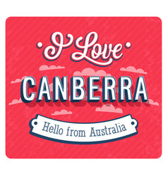 Vintage greeting card from canberra vector