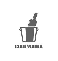 vodka bottle logo cold vodka icon on white vector image