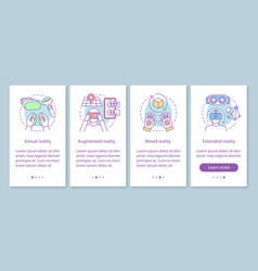 Vr technology onboarding mobile app page screen vector
