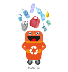 Waste sorting and recycling concept color vector