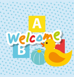 Welcome text rubber duck ball and blocks alphabet vector