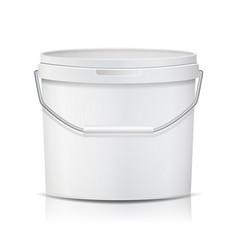White bucket blank plastic tub bucket vector