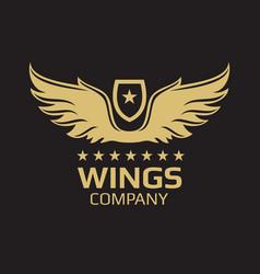 wings logo design - golden on black vector image