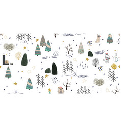 winter forest background with animals and trees vector image