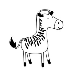 zebra cartoon black silhouette in white background vector image