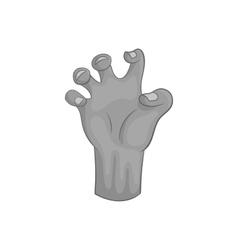 Zombie hand icon black monochrome style vector