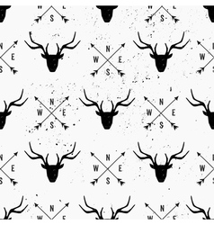 hand drawn deer heads abstract seamless pattern vector image