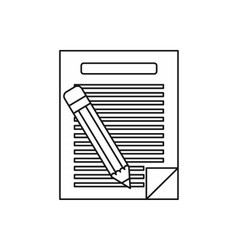 Lined paper and pencil icon outline style vector image