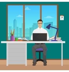 Man office manager in office interior vector image vector image