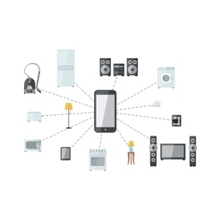 Mobile phone connected with house appliances vector