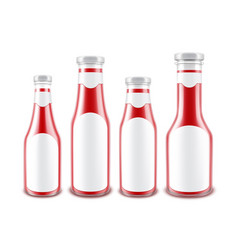 set of blank glass red tomato ketchup bottles vector image vector image