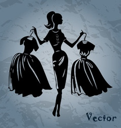 silhouette of women on background vector image vector image