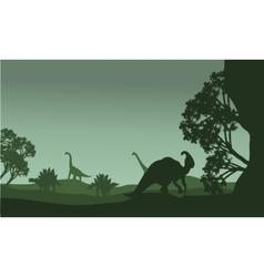 Silhouettte of parasaurolophus and stegosaurus vector