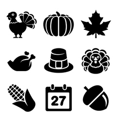 Thanksgivin Icons Set Isolated on White Background vector image vector image