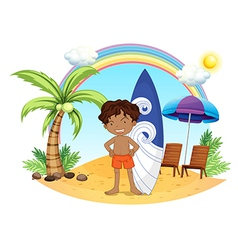 A boy and his surfing board at the beach vector image vector image