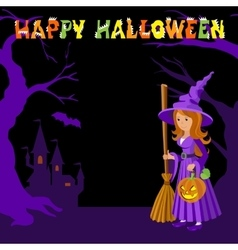 Background with wich castle bat pumpkin and vector image