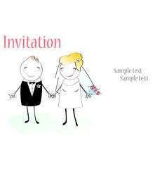 cartoon wedding invitation vector image