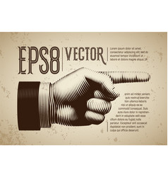 hand with pointing finger in line engraving vector image